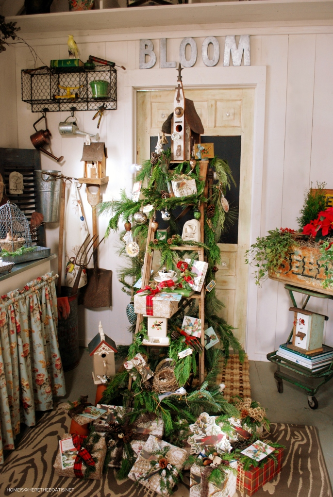 Ladder Tree in the Potting Shed | ©homeiswheretheboatis.net #Christmas #ladder #shed