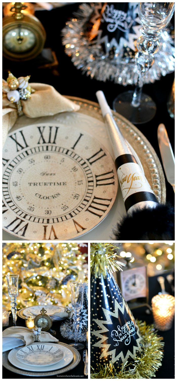 New Year's Eve Table | ©homeiswheretheboatis.net #newyear #tablescape