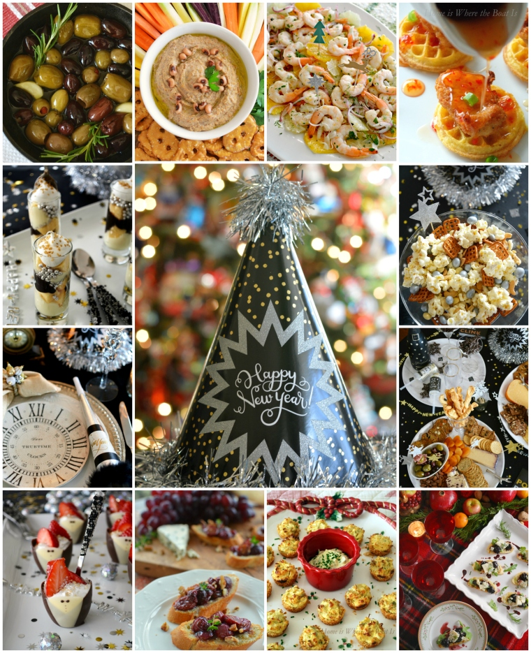 Ring in the New Year Party Inspiration Appetizers and Mini Desserts | ©homeiswheretheboatis.net #newyear #recipes #party #tablescapes
