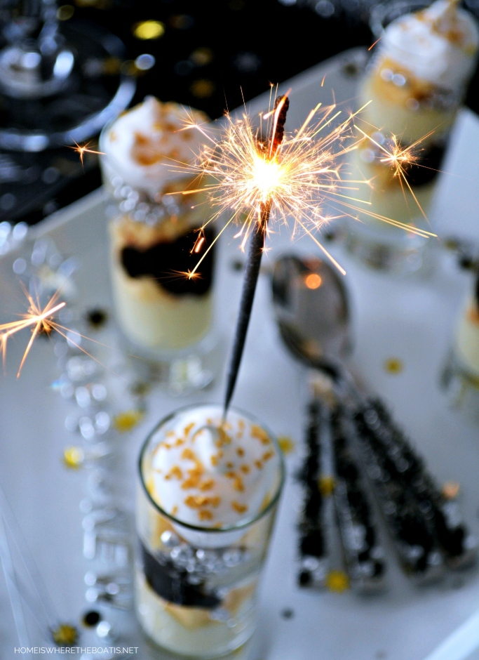 Sparkling Mini Parfaits! These no-bake party size desserts are easy to assemble. Make them as simple or as fancy as you like, add a sparkler in celebration and serve! | homeiswheretheboatis.net #newyearseve #minidessert #nobake #easy #party #newyear
