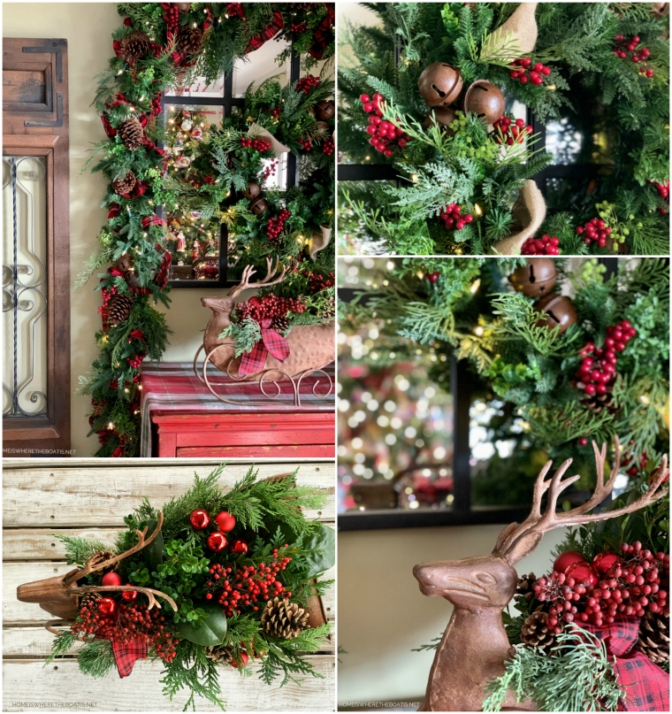 Christmas wreath and garland and deer centerpiece with berries, pine cones and tartan ribbon | ©homeiswheretheboatis.net #christmas #greenery #tartan
