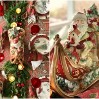 St. Nicholas Christmas Table with Paisley, Plaid and Forest Friends