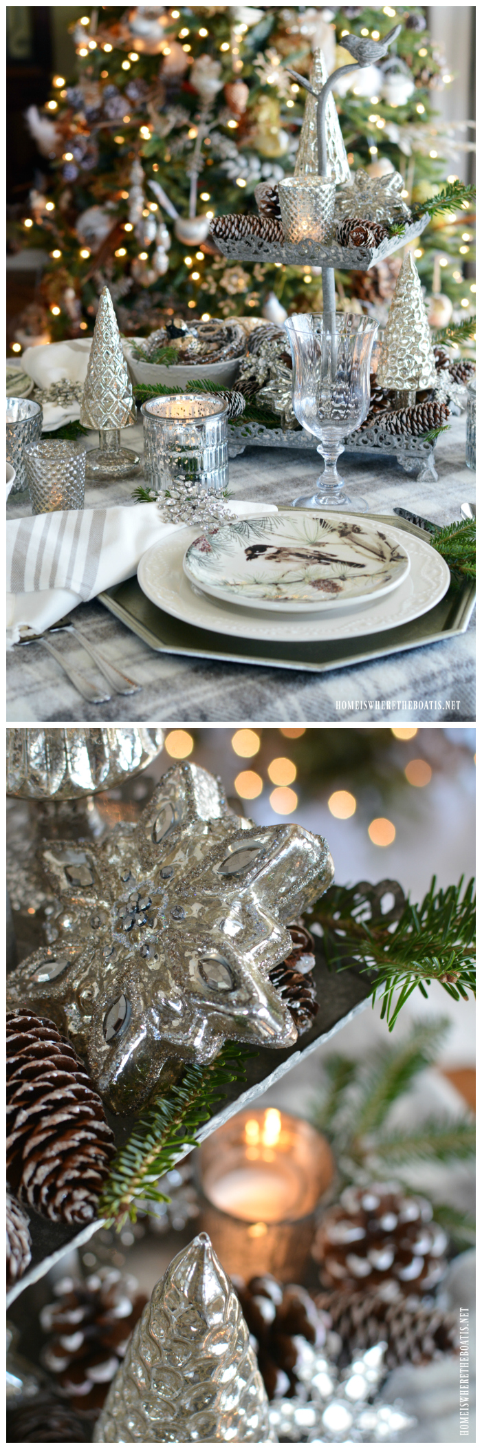 Winter table with birds, mercury glass, pine cones and snowflakes | homeiswheretheboatis.net #Christmas #winter #tablescapes
