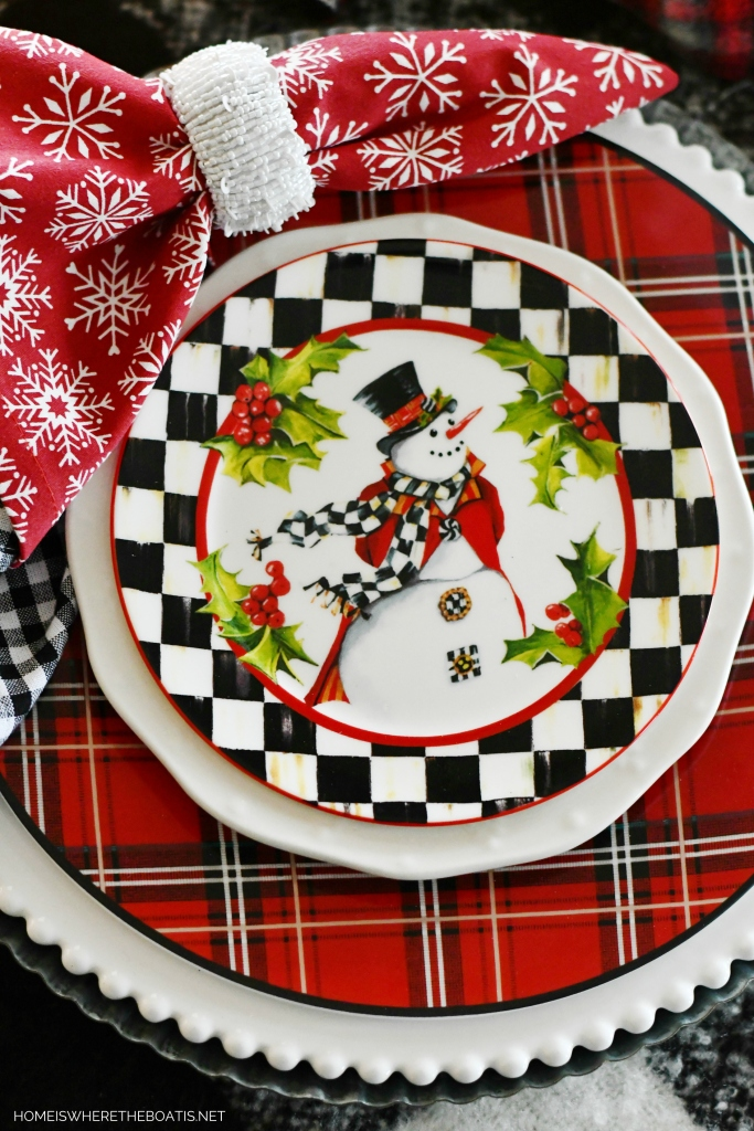 Frosty Fun DIY and Top Hat Snowman Winter Table | ©homeiswheretheboatis.net #tablescapes #winter #snowman #DIY