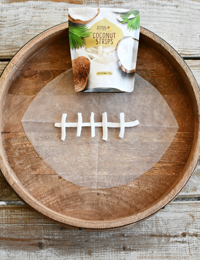 Dried coconut strips for Football Snack Board | ©homeiswheretheboatis.net #football #food #easy #snacking #superbowl