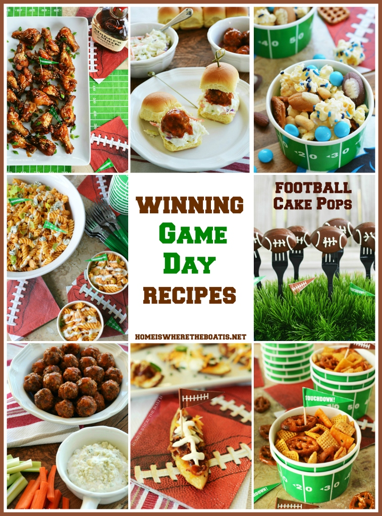 Enjoy this line up of Game Day recipes to kick off football season, for your next tailgate, or your Super Bowl Snacking! Recipes for Pigskin Potato Skins, Buffalo Chicken Pasta Salad, Slow Cooker Sweet & Sticky Wings, Buffalo Meatballs, Football Cake Pops and More! | ©homeiswheretheboatis.net #football #food #recipes #superbowl