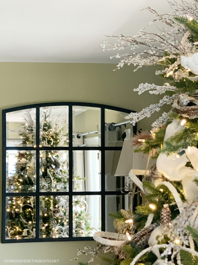 A Winter Nesting Tree for January with snowflakes, icy branches, birds and pine cones | ©homeiswheretheboatis.net