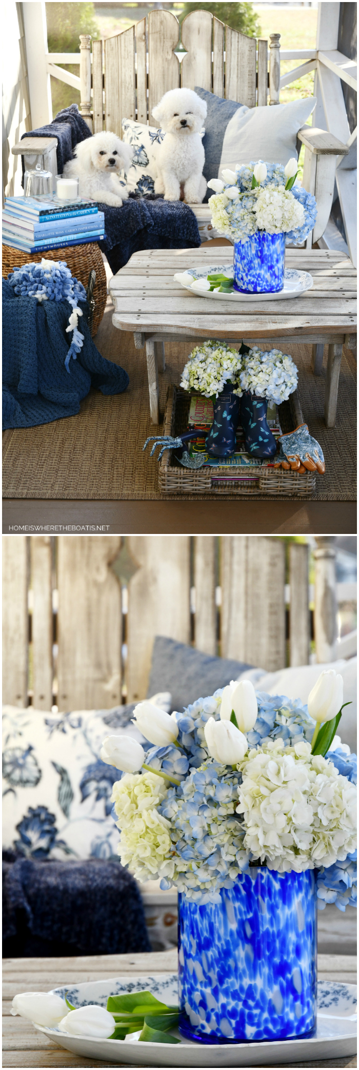 January Blues and Blooms on the Porch | ©homeiswheretheboatis.net