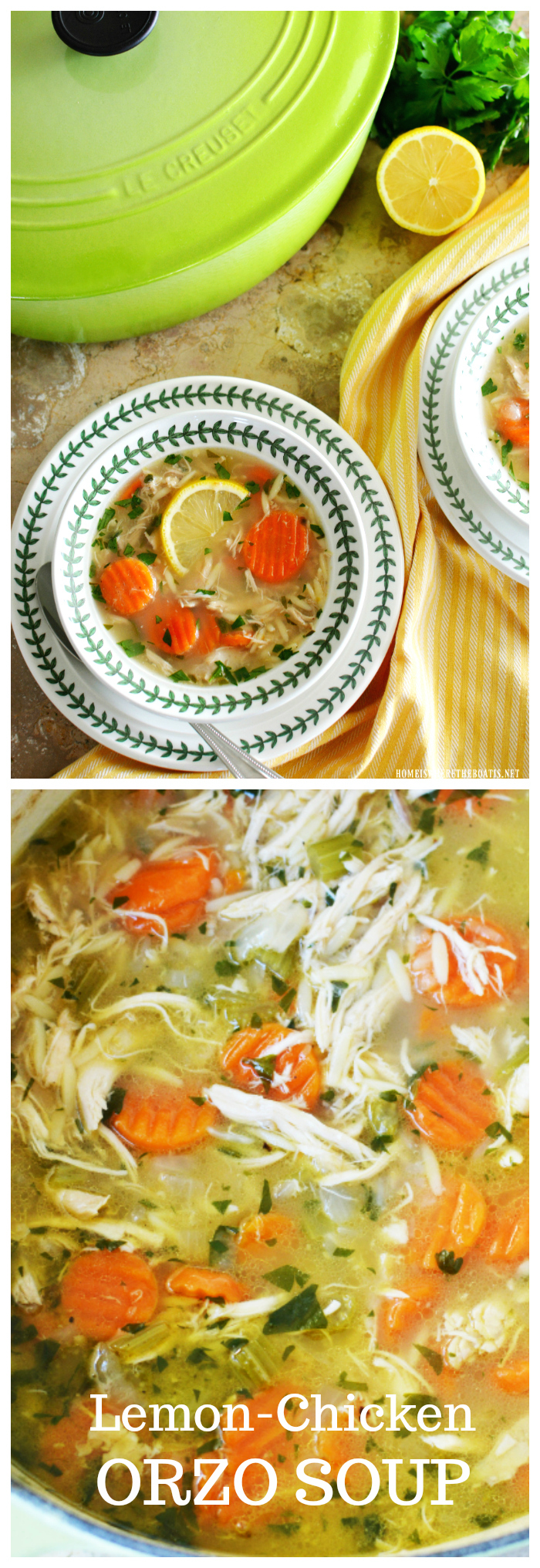 Favorite chicken soup recipe, ideal for cold and flu season, Lemon Chicken Orzo Soup