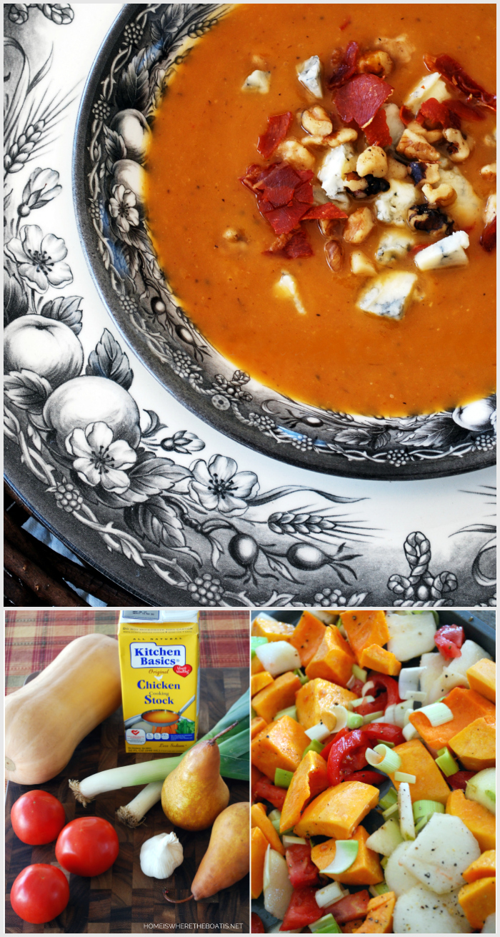 Roasted Pear and Butternut Squash Soup | ©homeiswheretheboatis.net #healthy #soup #recipes