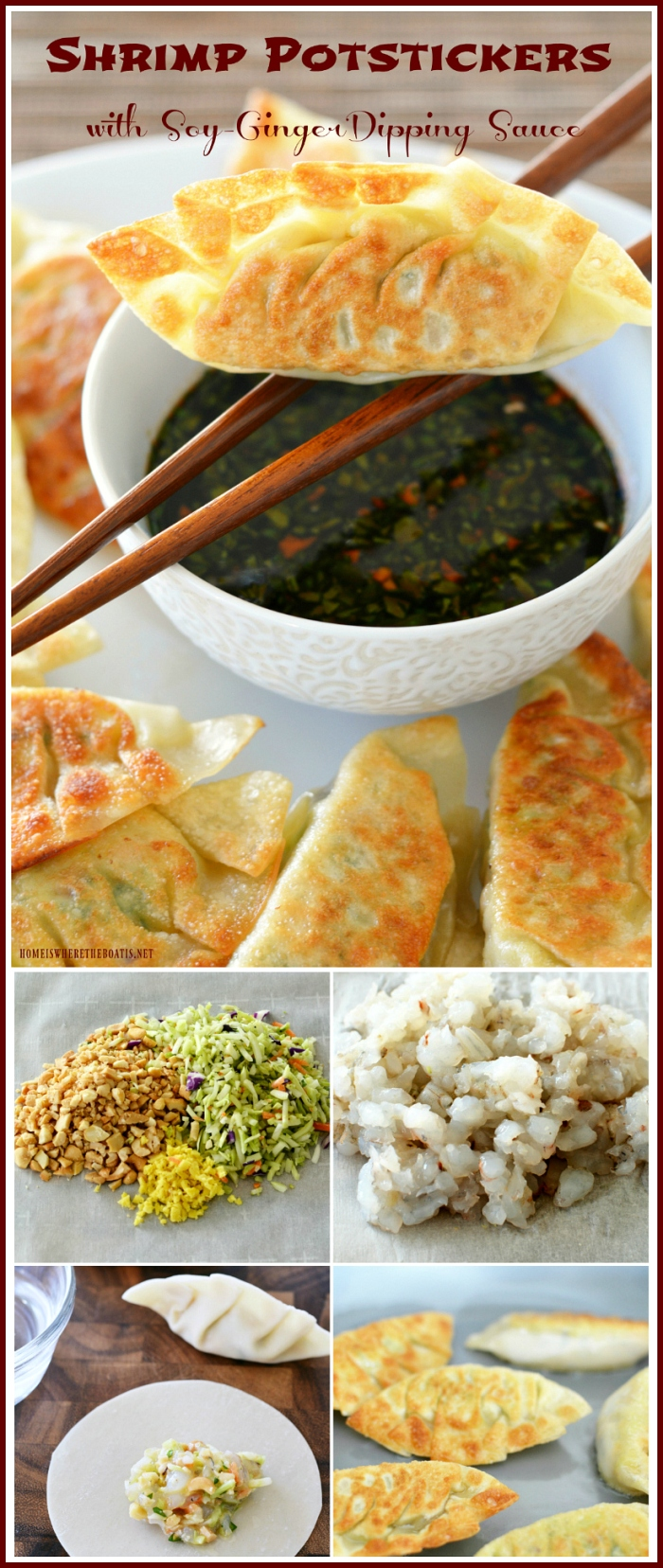 Shrimp Potstickers with Soy-Ginger DippingSauce | ©homeiswheretheboatis.net