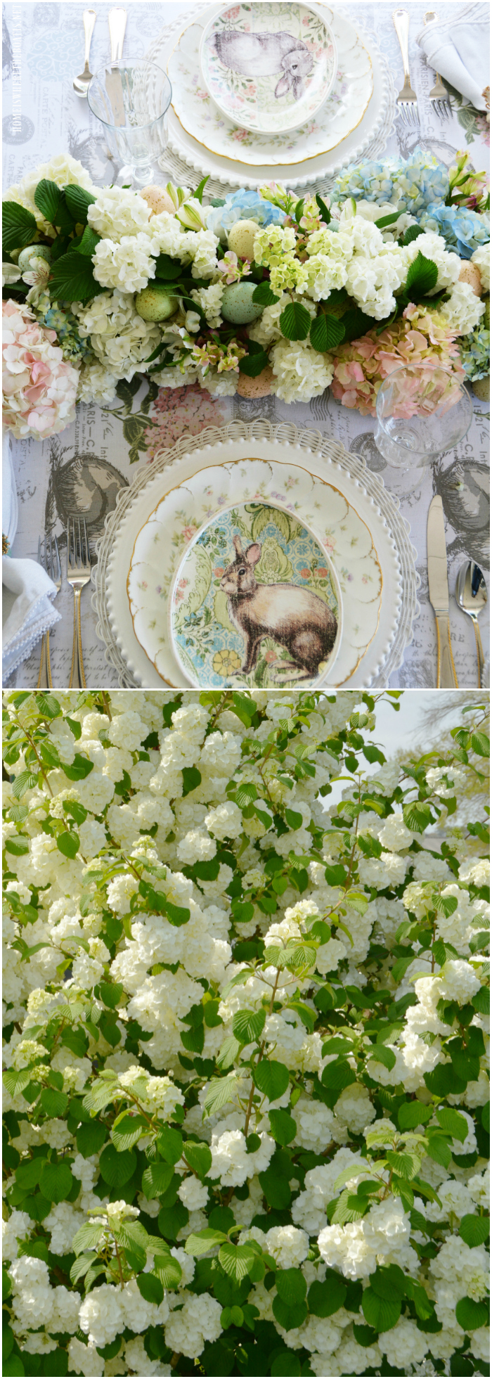Fresh floral table runner for spring or Easter with hydrangeas, snowball viburnum and decorative eggs.