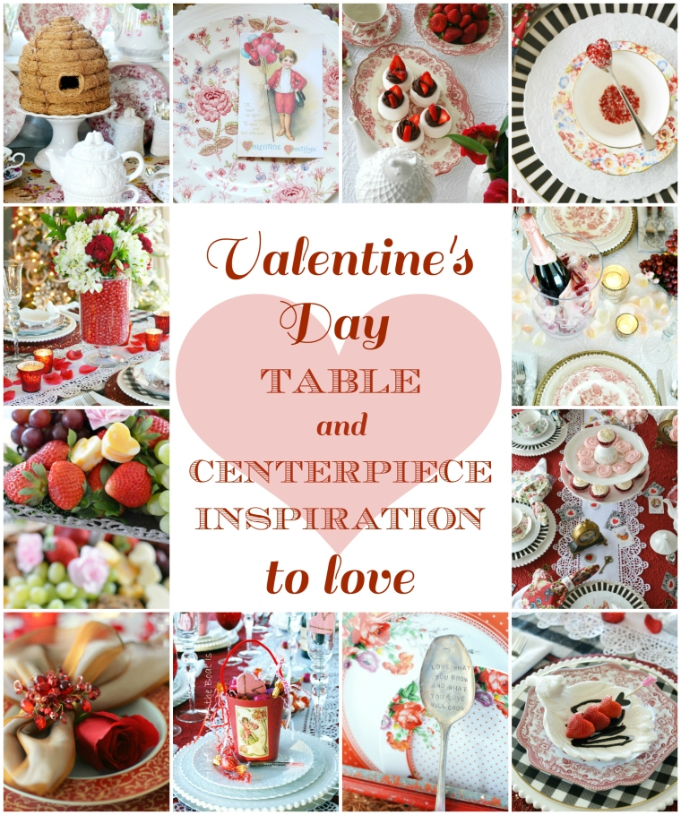 Find Valentine's Day table and centerpiece inspiration for celebrating with your sweetheart, family or girlfriends. Tips for creating edible centerpieces, candy vase floral arrangements, rose petal ice cubes, an Alice in Wonderland-inspired tea party and more! | ©homeiswheretheboatis.net #valentinesday #tablescape #centerpieces