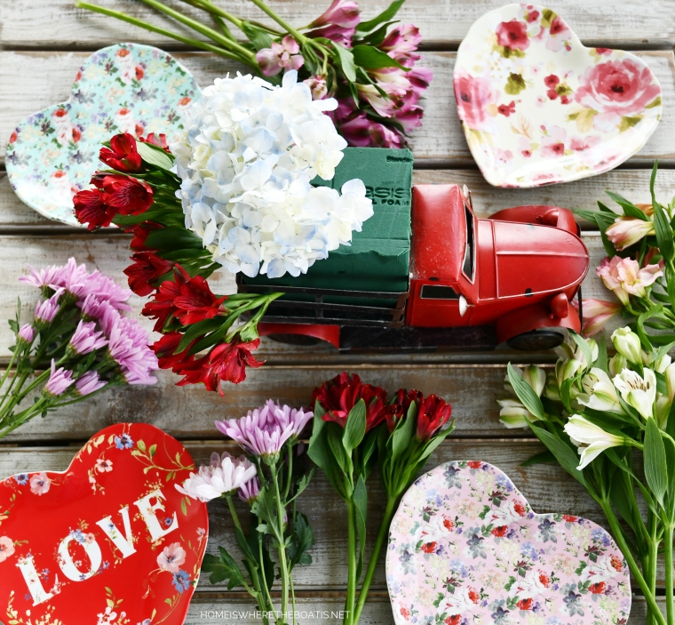 Red Pick Up Truck Flower Arrangement | ©homeiswheretheboatis.net #flowers #valentinesday