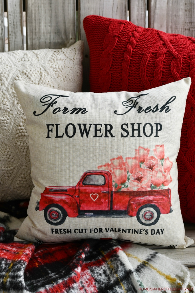 Farm Fresh Flower Shop Truck Pillow| ©homeiswheretheboatis.net #flowers #valentinesday