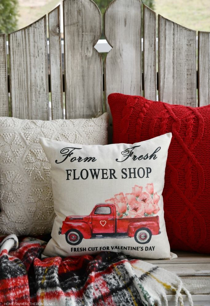 Farm Fresh Flower Shop Truck Flower Pillow | ©homeiswheretheboatis.net #flowers #valentinesday