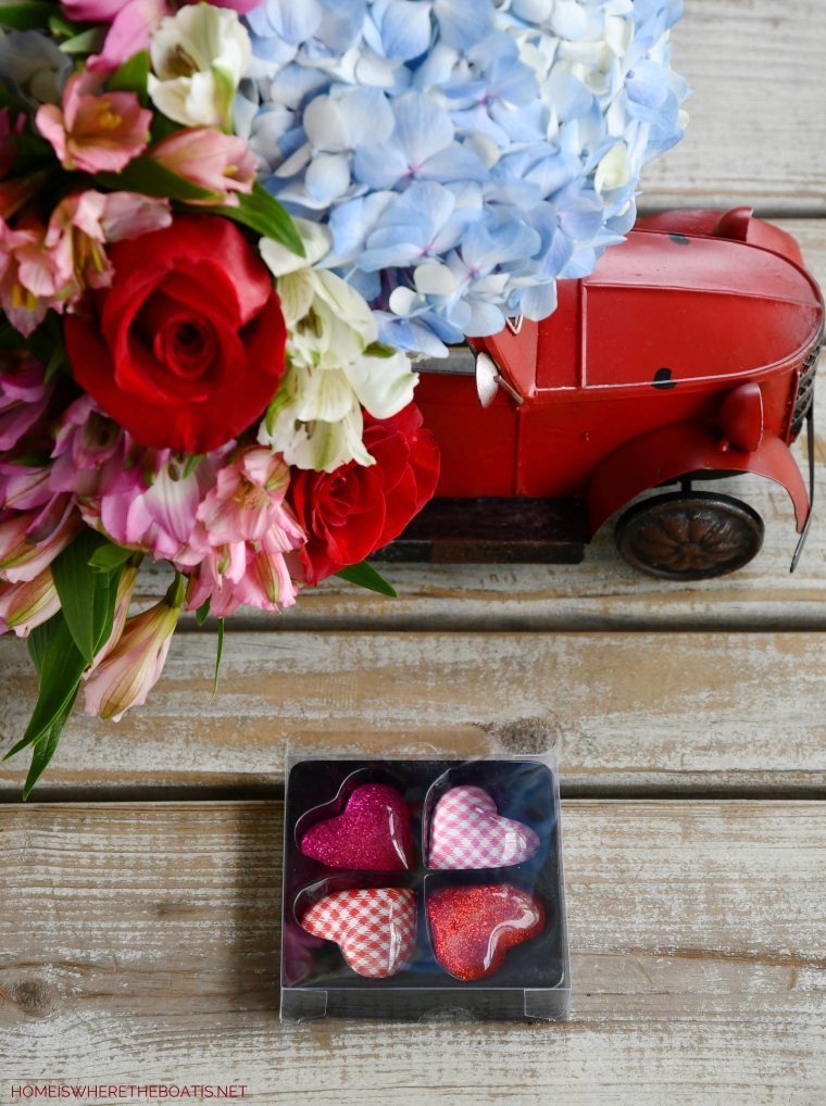 Red Truck Flower Arrangement and heart magnets | ©homeiswheretheboatis.net #flowers #valentinesday