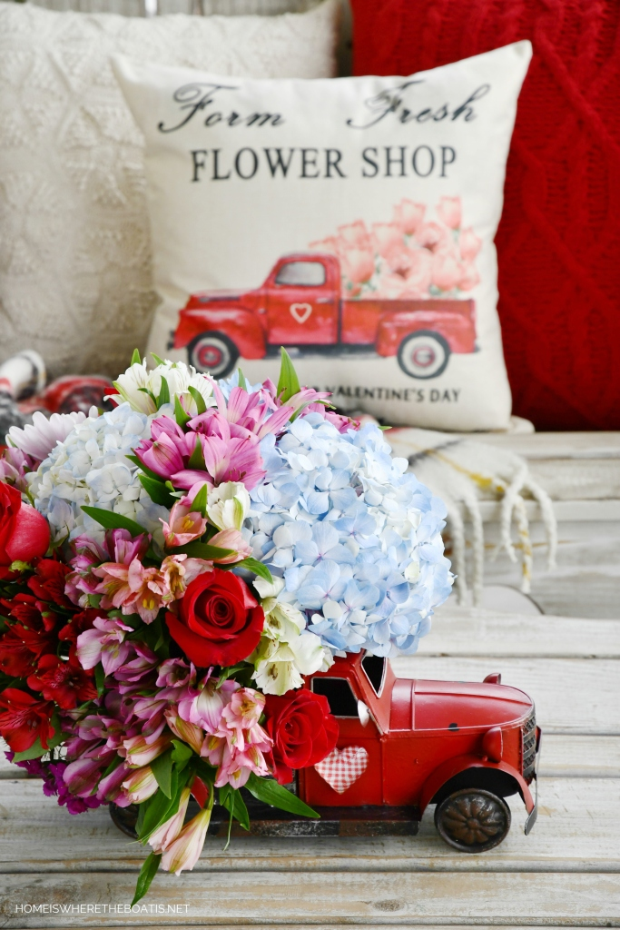 Farm Fresh Red Truck Flower Arrangement | ©homeiswheretheboatis.net #flowers #valentinesday