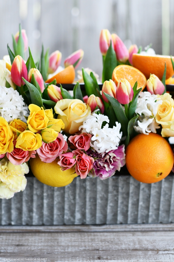 DIY Floral Arrangement with Tulips, Roses, Hyacinths and Citrus | ©homeiswheretheboatis.net #flowers #centerpiece #DIY