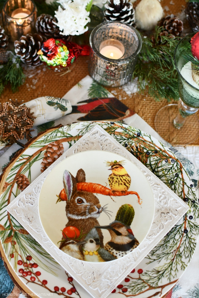 Whimsical 'Cusp of Spring' Table with Forest Friends | ©homeiswheretheboatis.net #tablescapes #winter