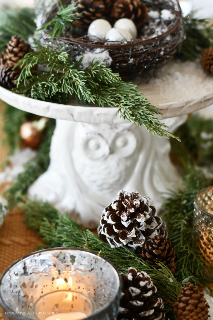Whimsical 'Cusp of Spring' Table with Forest Friends | ©homeiswheretheboatis.net #tablescapes #winter #owl