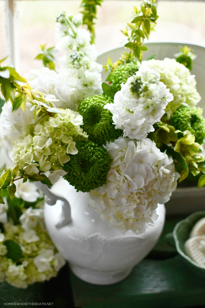 Ironstone pitcher with white and green flowers | ©homeiswheretheboatis.net #flowers