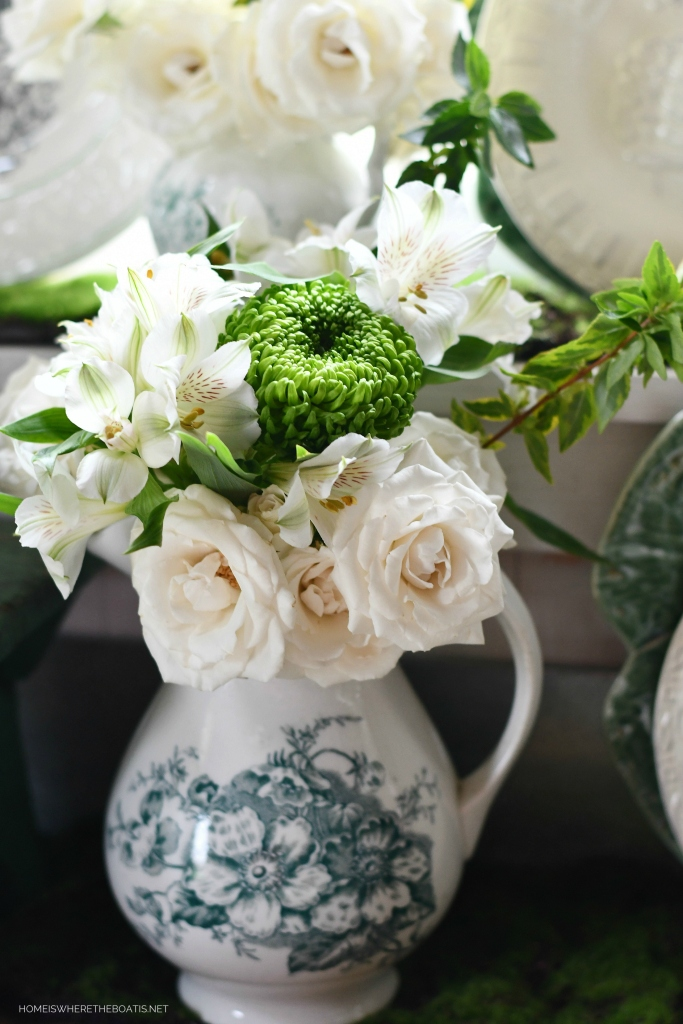 Transferware pitcher with white and green flowers | ©homeiswheretheboatis.net #flowers