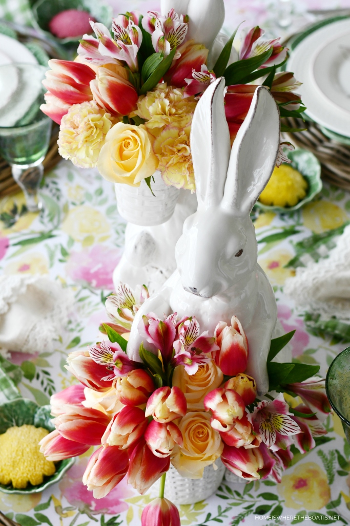'Hopping into Spring' Bunny vases with flowers and tablescape | ©homeiswheretheboatis.net #spring #tablescapes