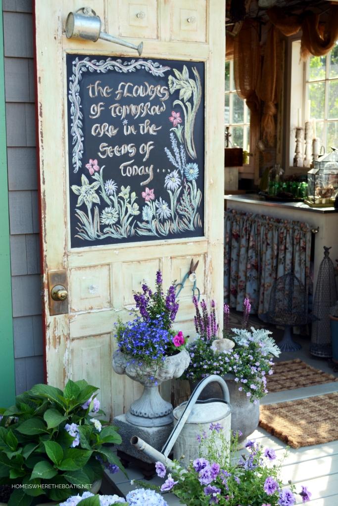 A Garden Metaphor for Life and Chalkboard Inspiration | ©homeiswheretheboatis.net #flowers #garden #shed #pottingshed #chalkboard