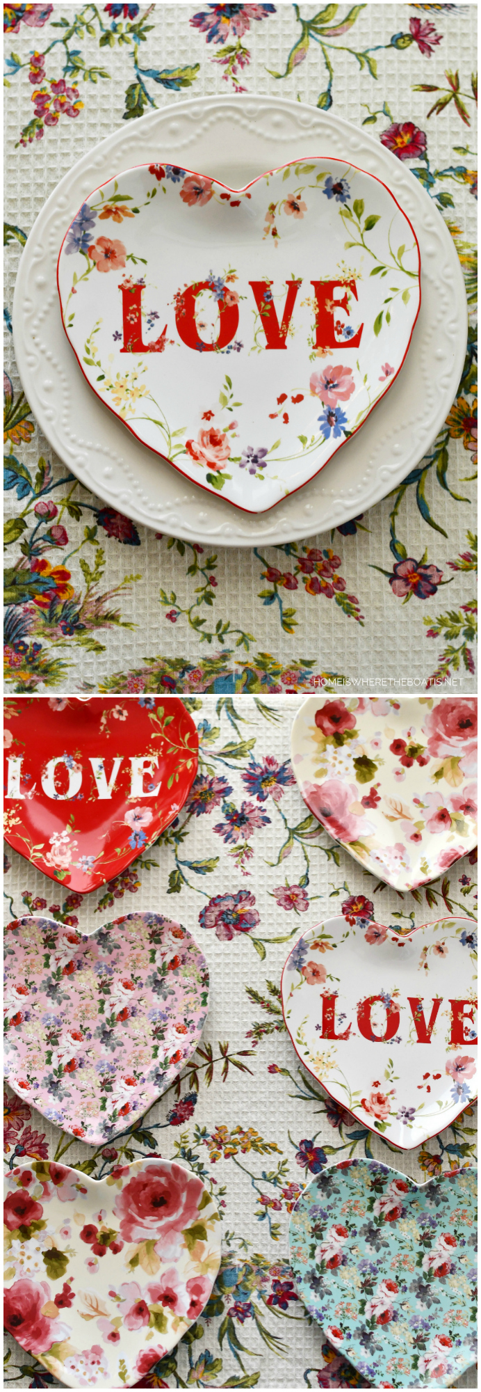 Valentine's Day Tablescape Round Up + Dish Love Giveaway | ©homeiswheretheboatis.net #tablescapes #valentinesday
