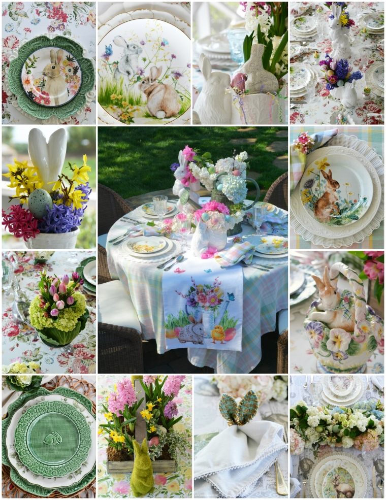 Hopping into Spring Table and Centerpiece Inspiration | ©homeiswheretheboatis.net #spring #easter #tablescapes #centerpieces