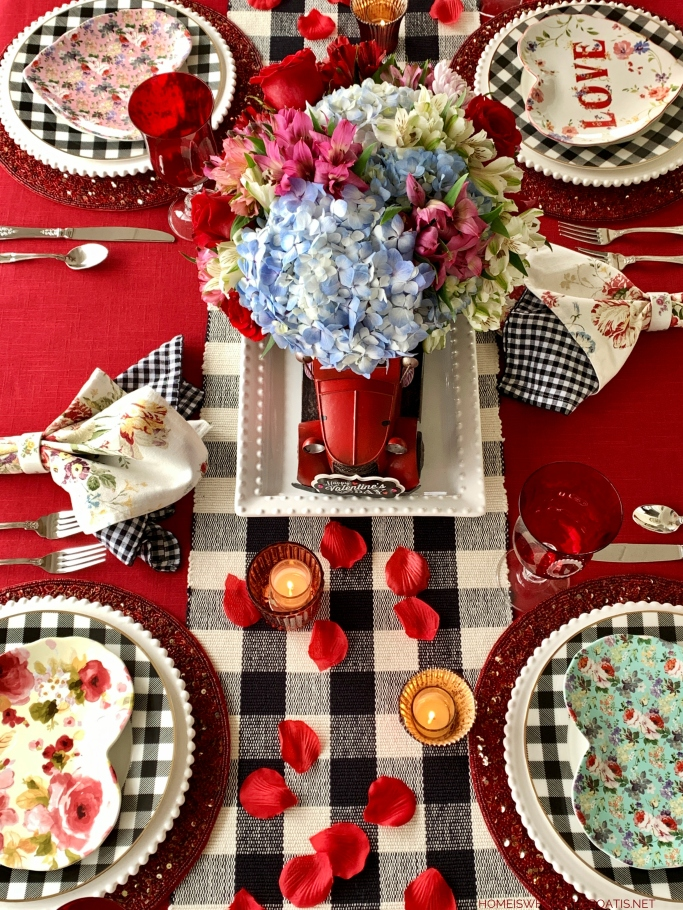 Special Delivery of Hearts and Flowers for Valentine's Day Tablescape | ©homeiswheretheboatis.net #tablescapes #valetinesday #buffalocheck #truck