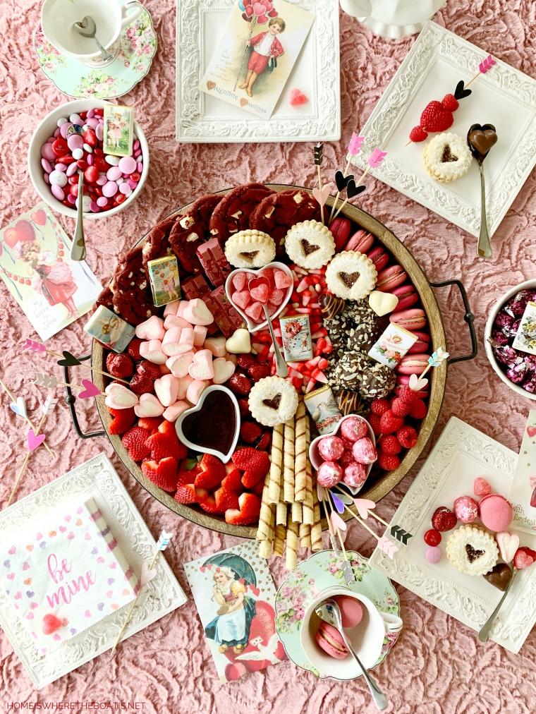 Be Mine Valentine's Day Dessert Board | ©homeiswheretheboatis.net #valentinesday #dessert #board #chocolate