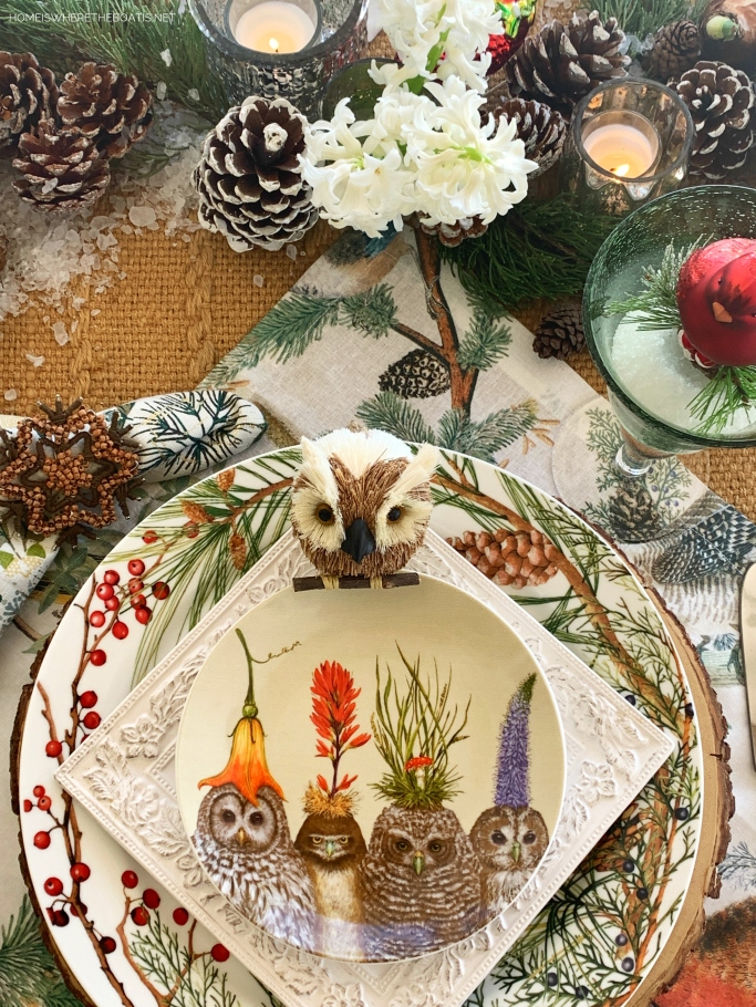Whimsical 'Cusp of Spring' Table with Forest Friends | ©homeiswheretheboatis.net #tablescapes #winter #owls