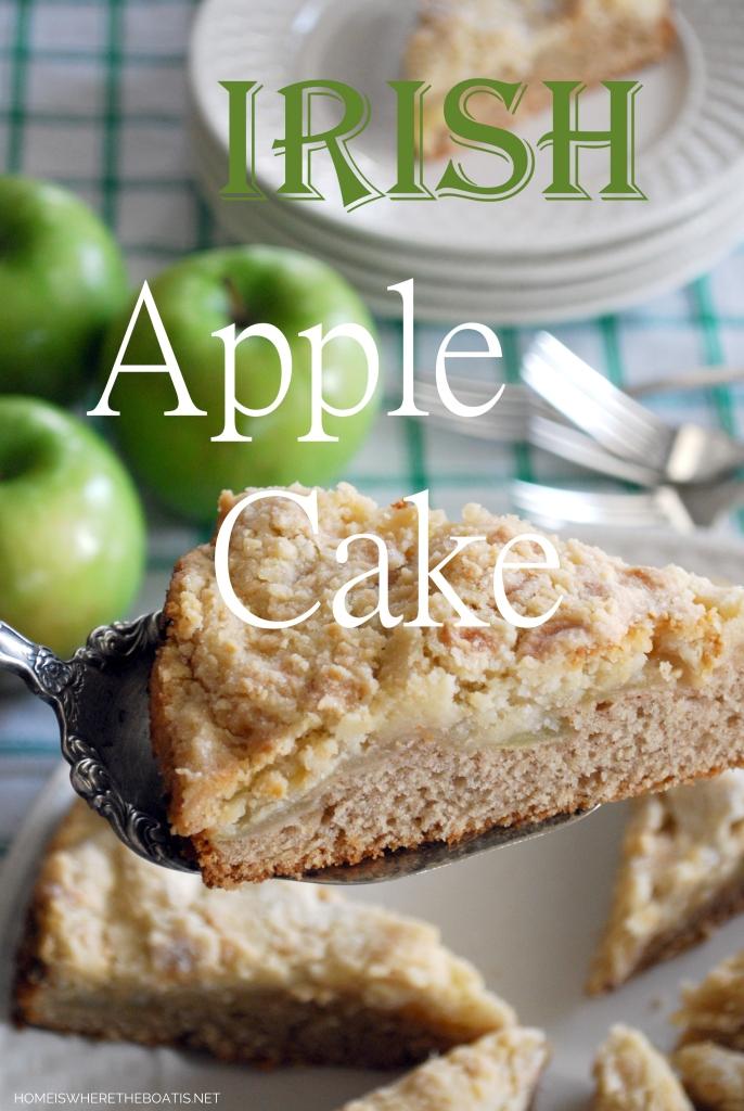 Irish Apple Cake for St. Patrick's Day | ©homeiswheretheboatis.net #stpatricksday #recipes #cake #apples