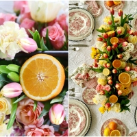 Floral Arrangement with Tulips, Roses and Citrus + Pink Transferware Table