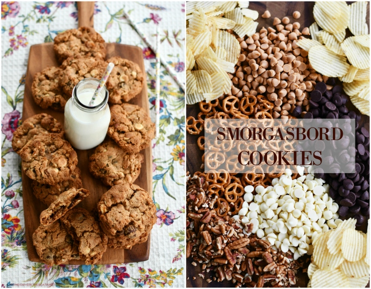 Smorgasbord Cookies are the ultimate chewy, chocolate chip cookies, packed with additional sweet and salty mix-ins for a smorgasbord of flavor. | ©homeiswheretheboatis.net