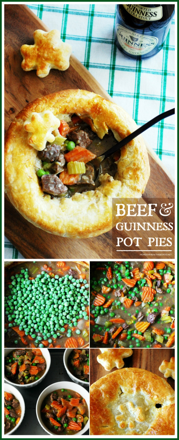 Beef and Guinness Pot Pies with puff pastry shamrocks | ©homeiswheretheboatis.net #stpatricksday #recipes #irish #guinness