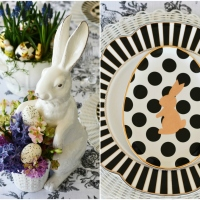 'Black and White with Bunnies All Over' Easter Tablescape