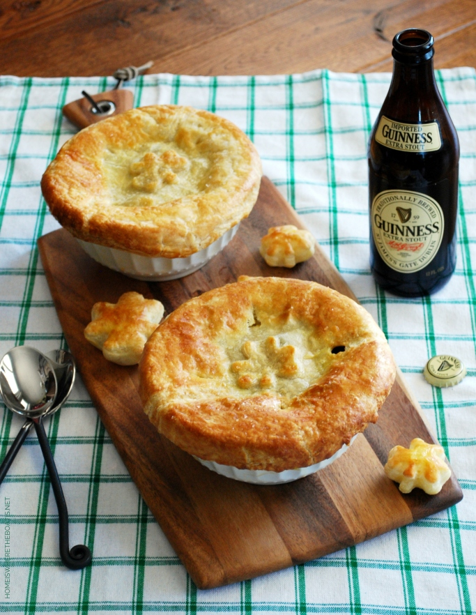 Beef and Guinness Pot Pieswith puff pastry shamrocks | ©homeiswheretheboatis.net #stpatricksday #recipes #irish #guinness