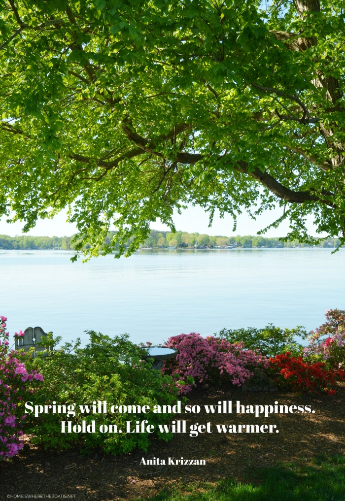 """""""Spring will come and so will happiness. Hold on. Life will get warmer."""" - Anita Krizzan"""