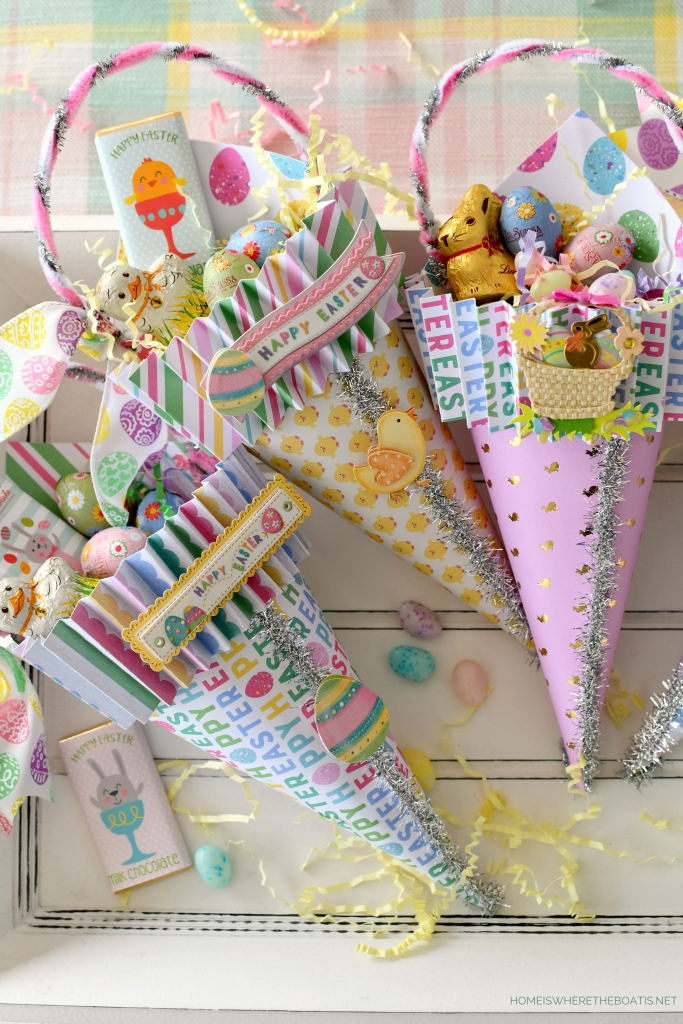 DIY Easter Treat + Candy Cones | ©homeiswheretheboatis.net #easter #diy #craft #candy