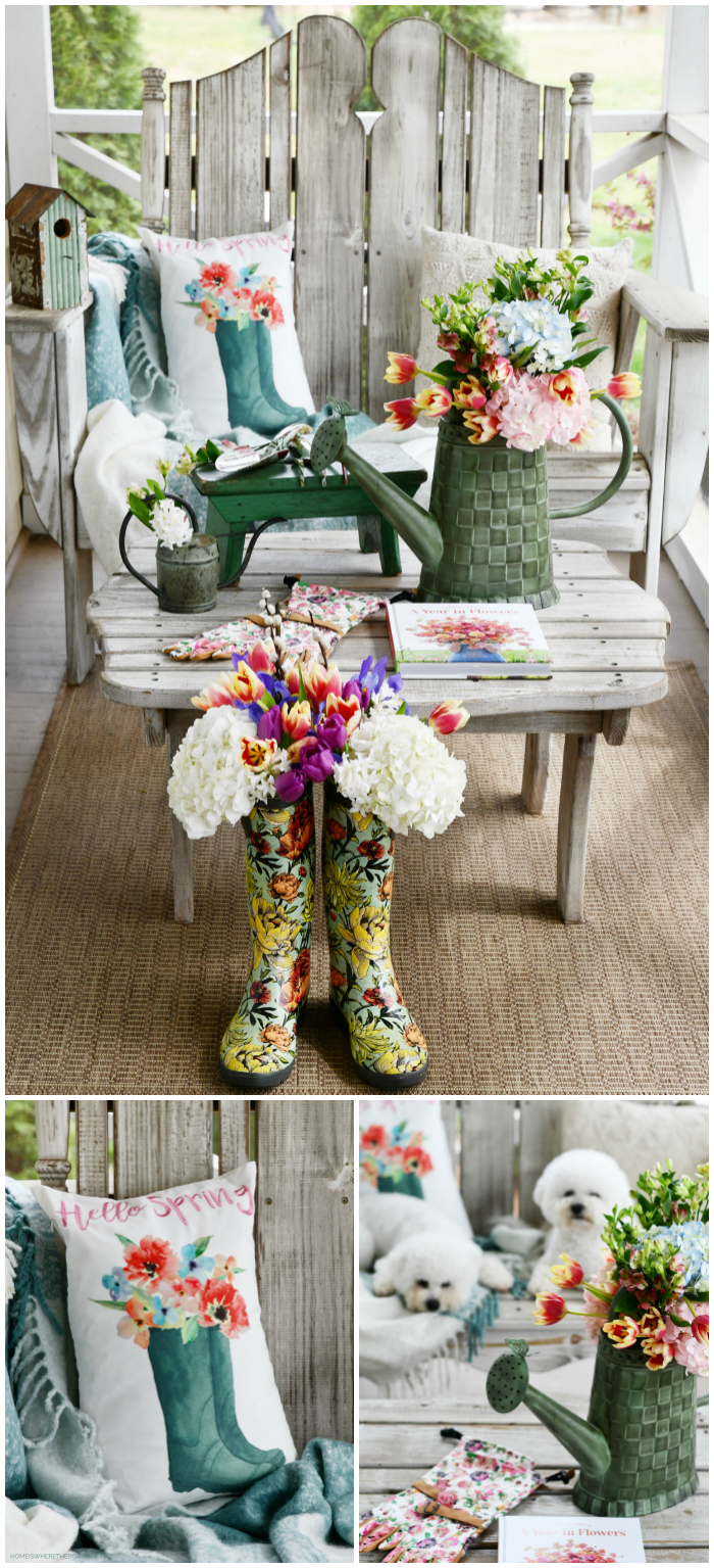 Spring on the porch with dogs, blooming wellies and watering can | ©homeiswheretheboatis.net #flowers #wellies #spring