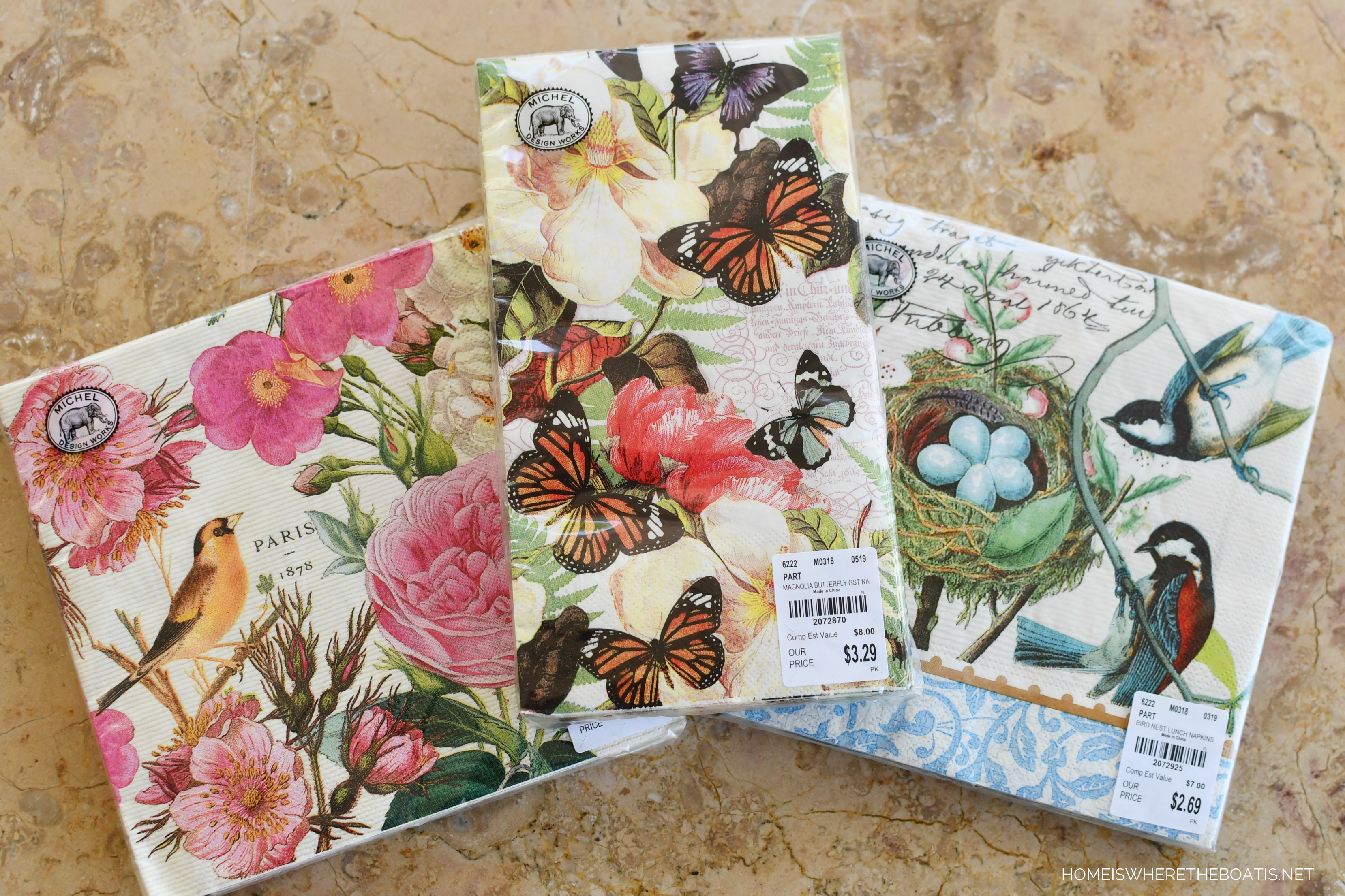 2 single Paper Napkins for DECOUPAGE Crafts Collection Party Flowers Blossom Spring Butterfly Feather Birds
